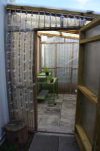 Image of an eco greenhouse made from plastic bottles